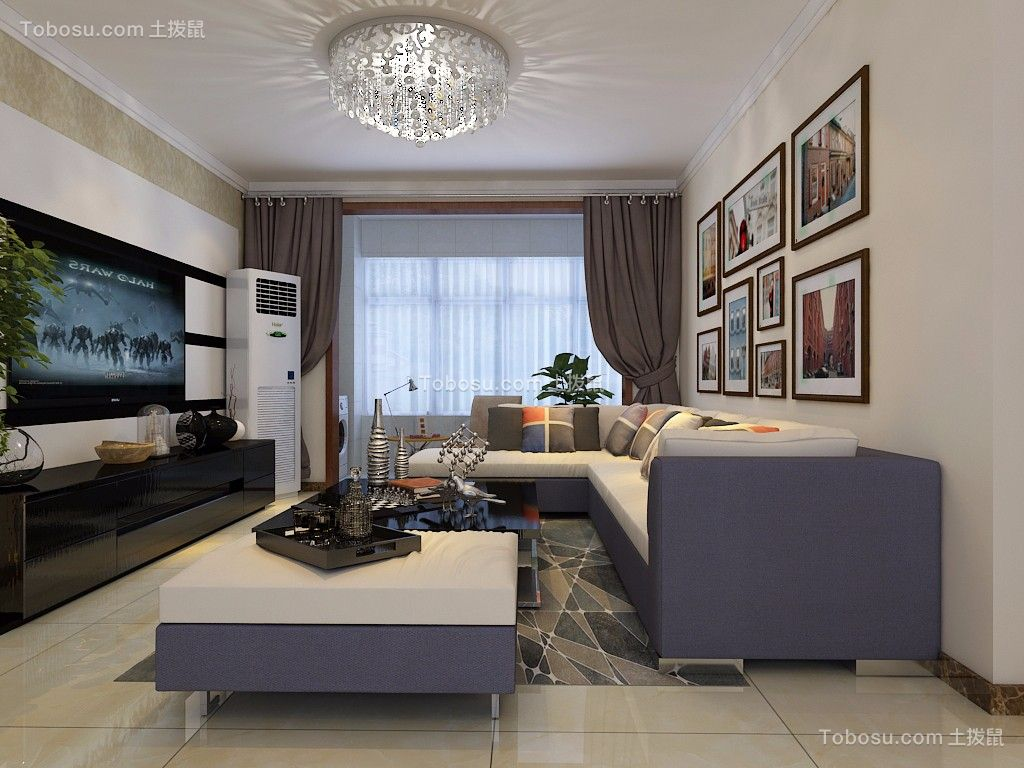 花语馨苑125平现代简约风格三居室装修效果图