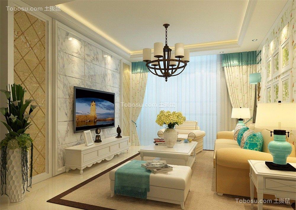 田园风格96平米两室两厅新房装修效果图