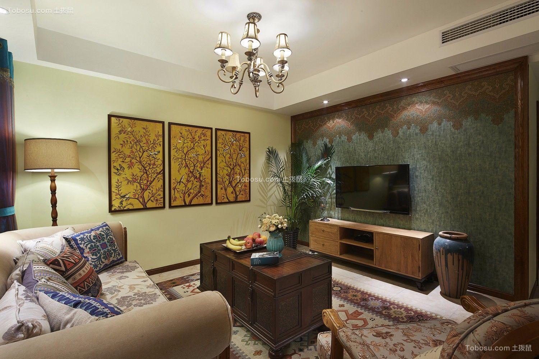 东南亚风格95平米两室两厅新房装修效果图
