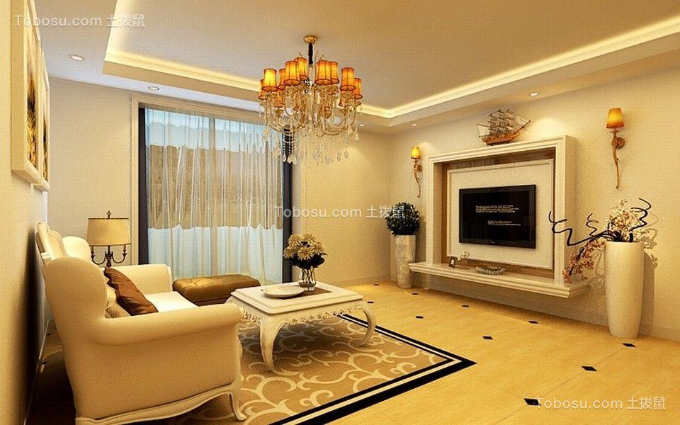 简约风格95平米两室两厅新房装修效果图