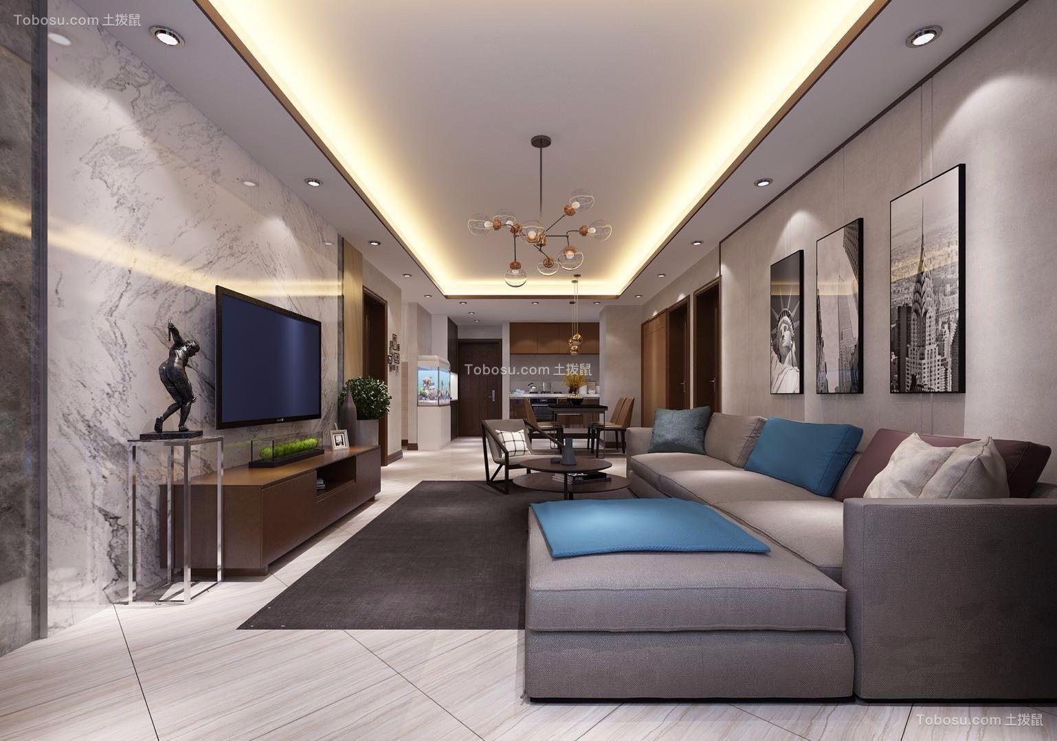 128平米现代风格三居室装修效果图