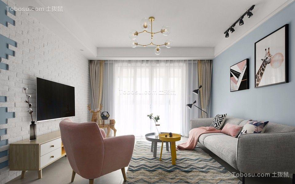 74平北欧风格二居室装修效果图