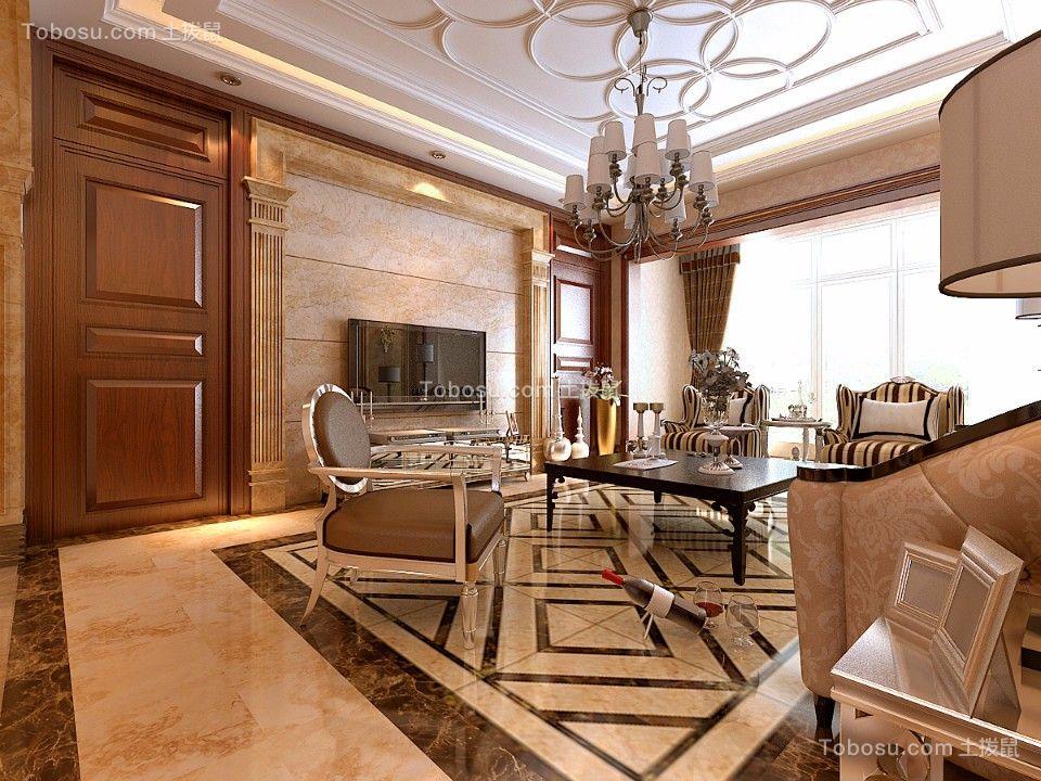 207平新古典风格三居室装修效果图