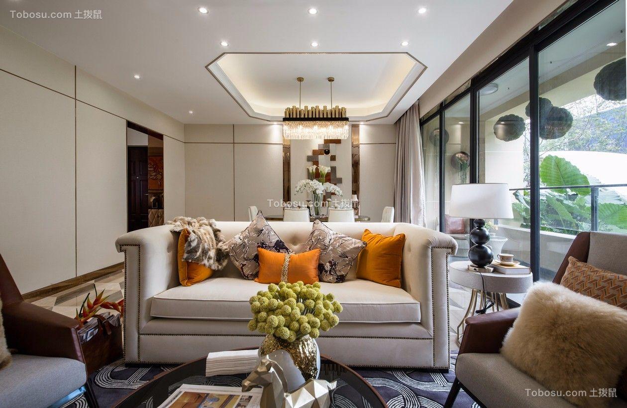 110平后现代风格三居室装修效果图