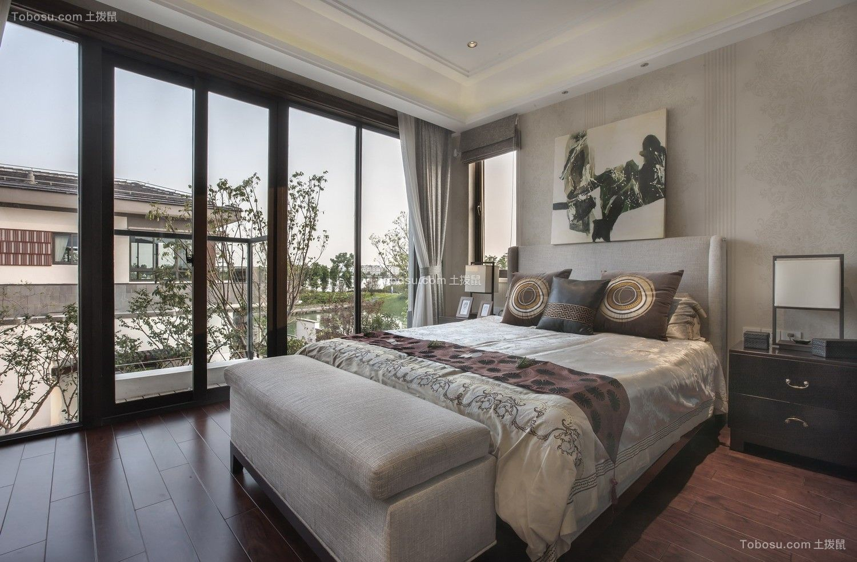 卧室 落地窗_300平新中式风格别墅装修效果图图片