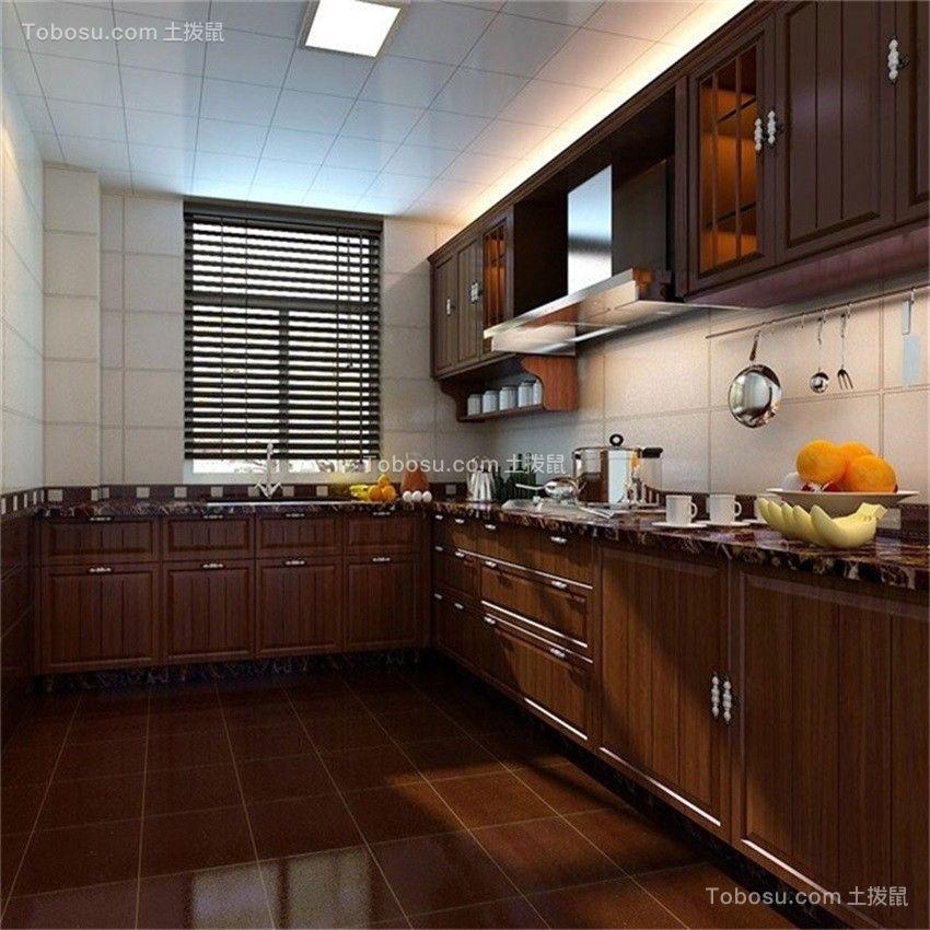 厨房咖啡色橱柜中式古典风格装饰图片