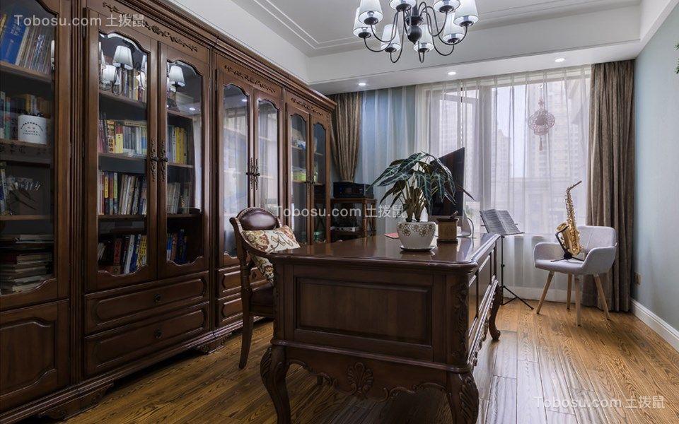 书房咖啡色书桌美式风格装潢效果图