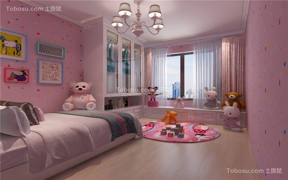 儿童房粉色窗帘简约风格装潢效果图