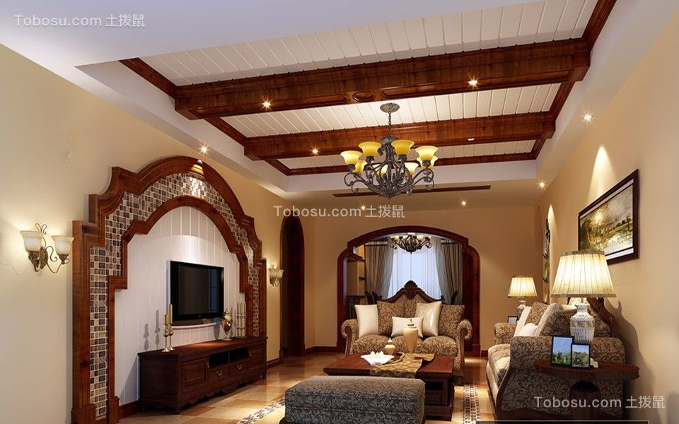 170平美式风格3房2厅2卫装修效果图