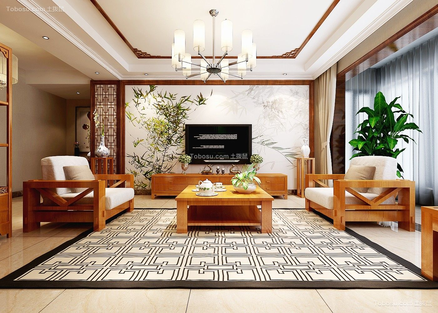 170平现代中式风格套房装修效果图
