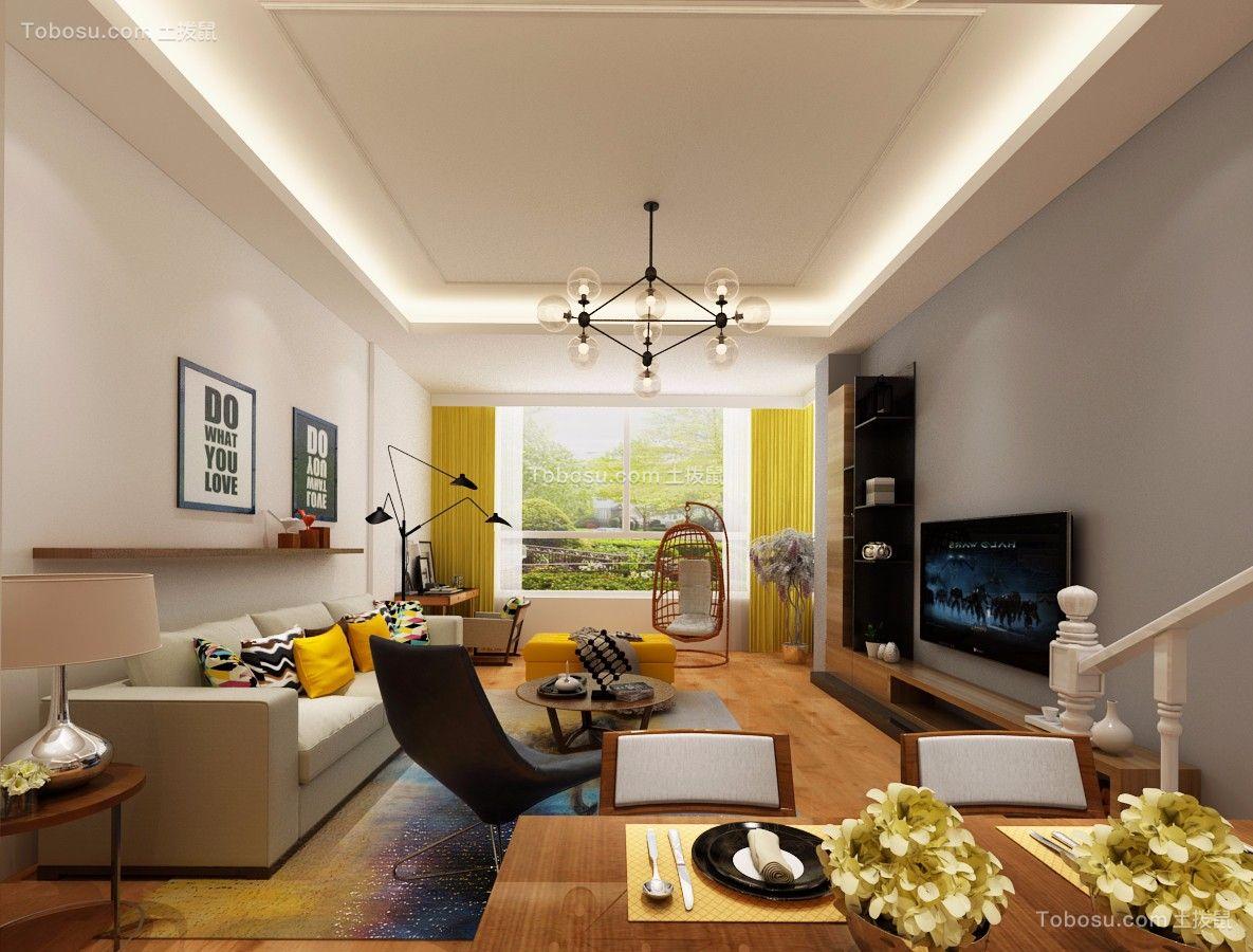 103平北欧风格两居室装修效果图