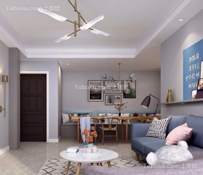 客厅白色吊顶简约风格装潢图片