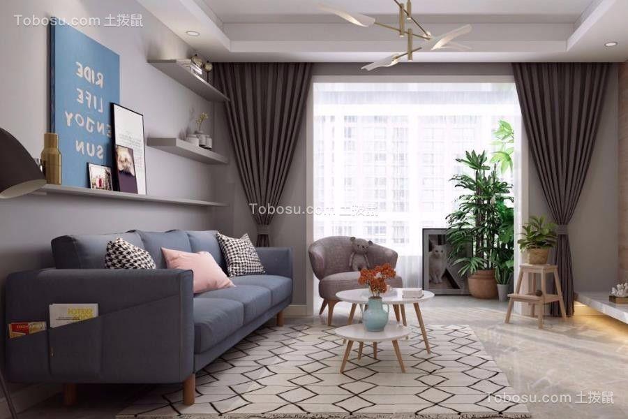 个性蓝色客厅装修图片