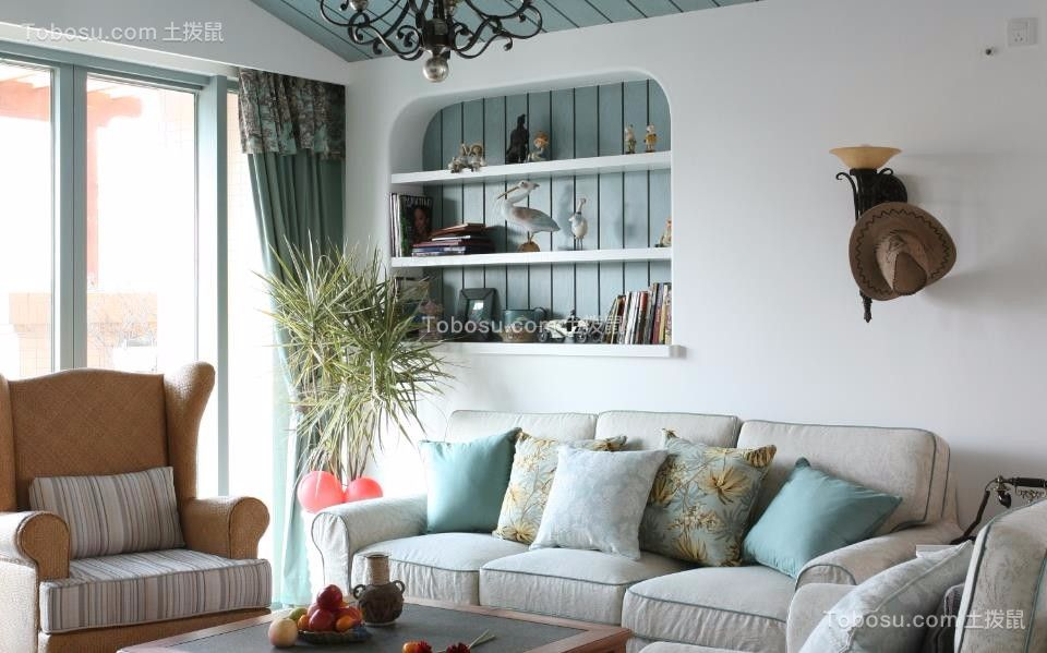 客厅灰色沙发田园风格装饰效果图