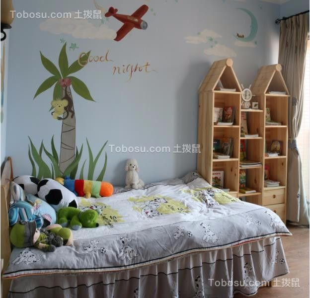儿童房蓝色背景墙田园风格装潢图片