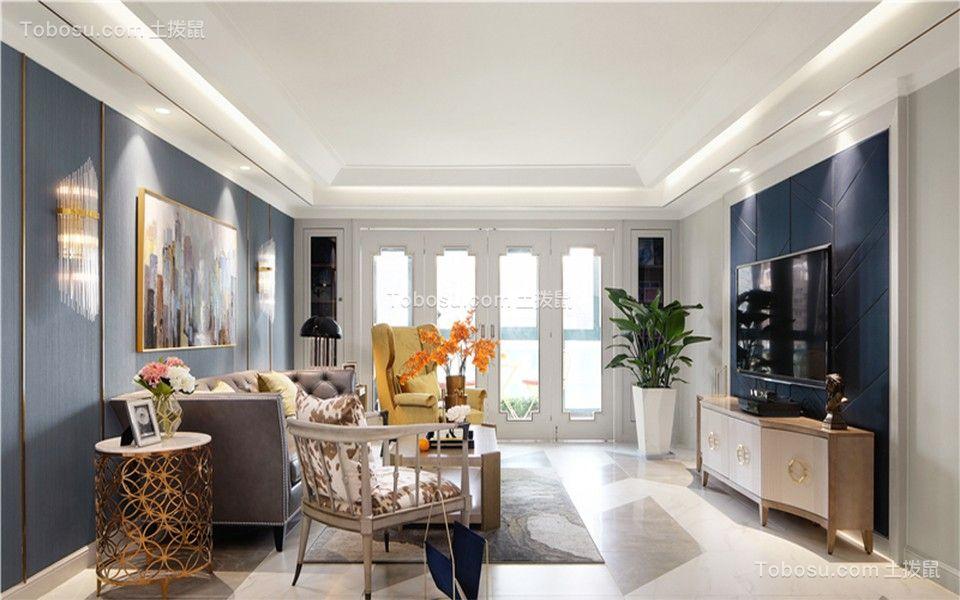 130平米美式风格三居室装修效果图