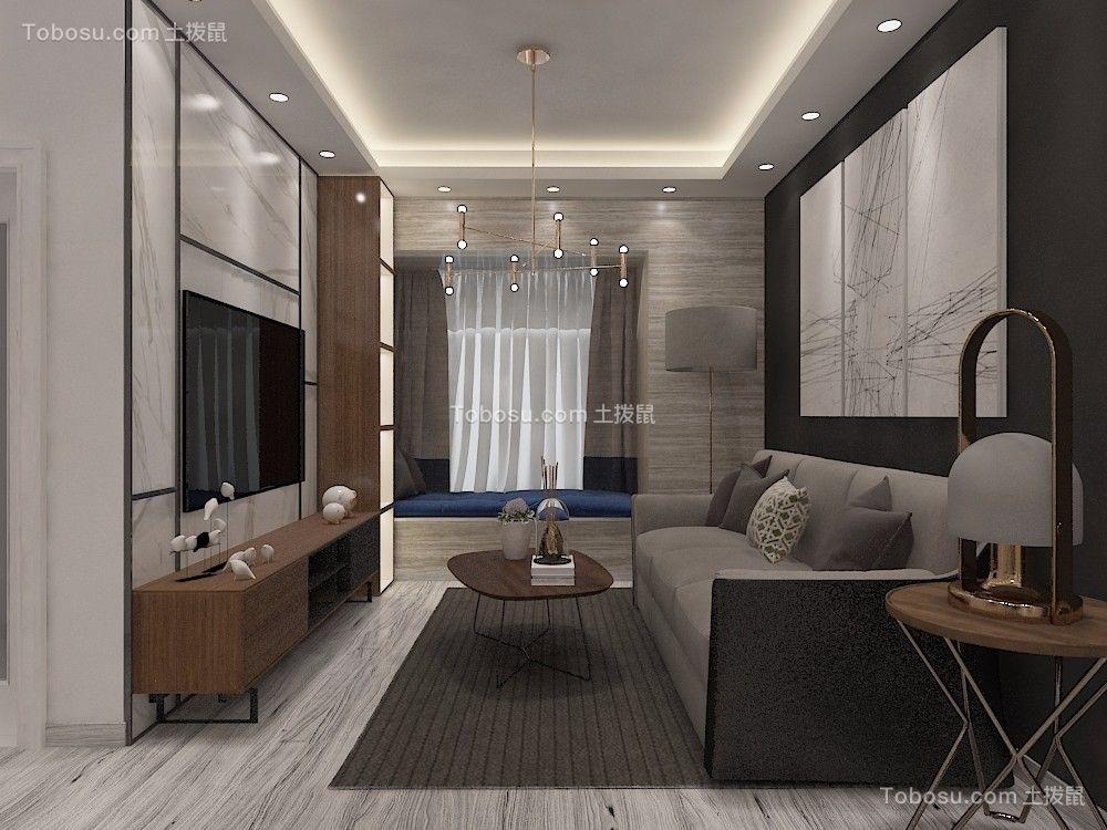 80平米美式风格两室两厅装修效果图