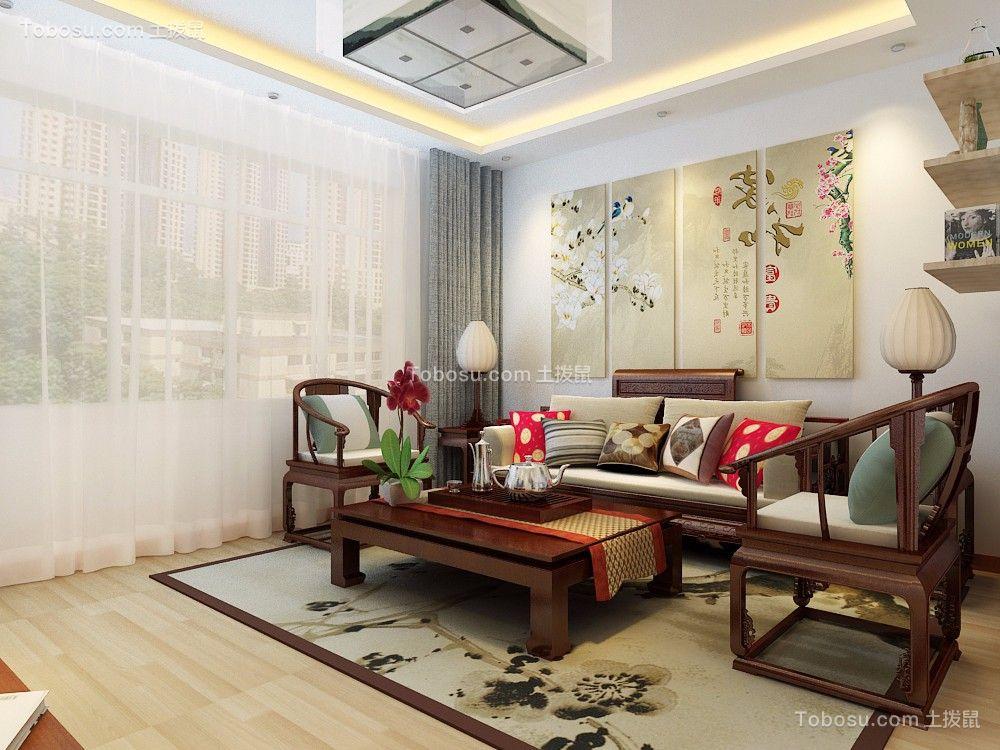 139平米中式风格三居室装修效果图