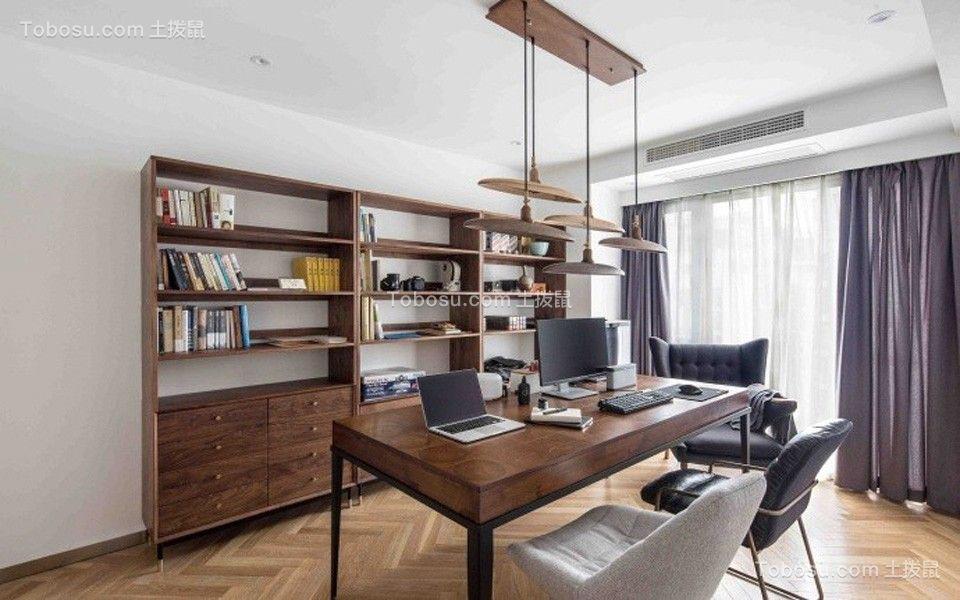 书房咖啡色书桌现代简约风格装饰图片