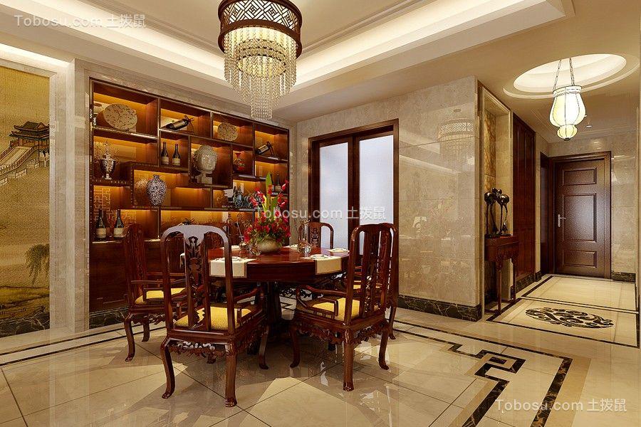 餐厅红色餐桌中式风格装饰图片