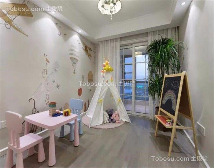 儿童房白色窗帘简约风格装饰效果图