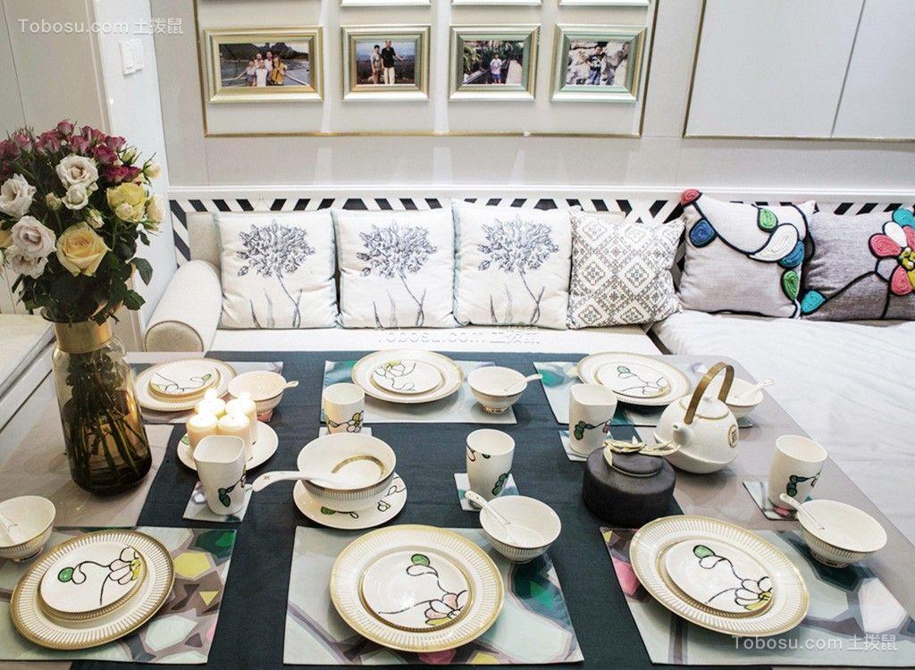 餐厅灰色餐桌北欧风格装潢图片