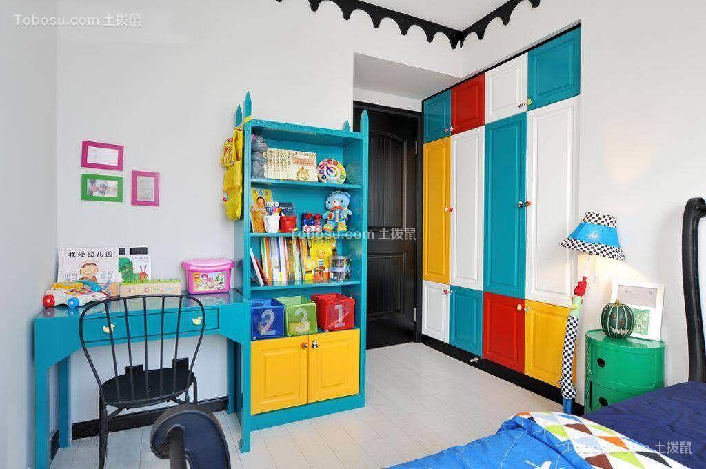 卧室蓝色书桌混搭风格装潢效果图