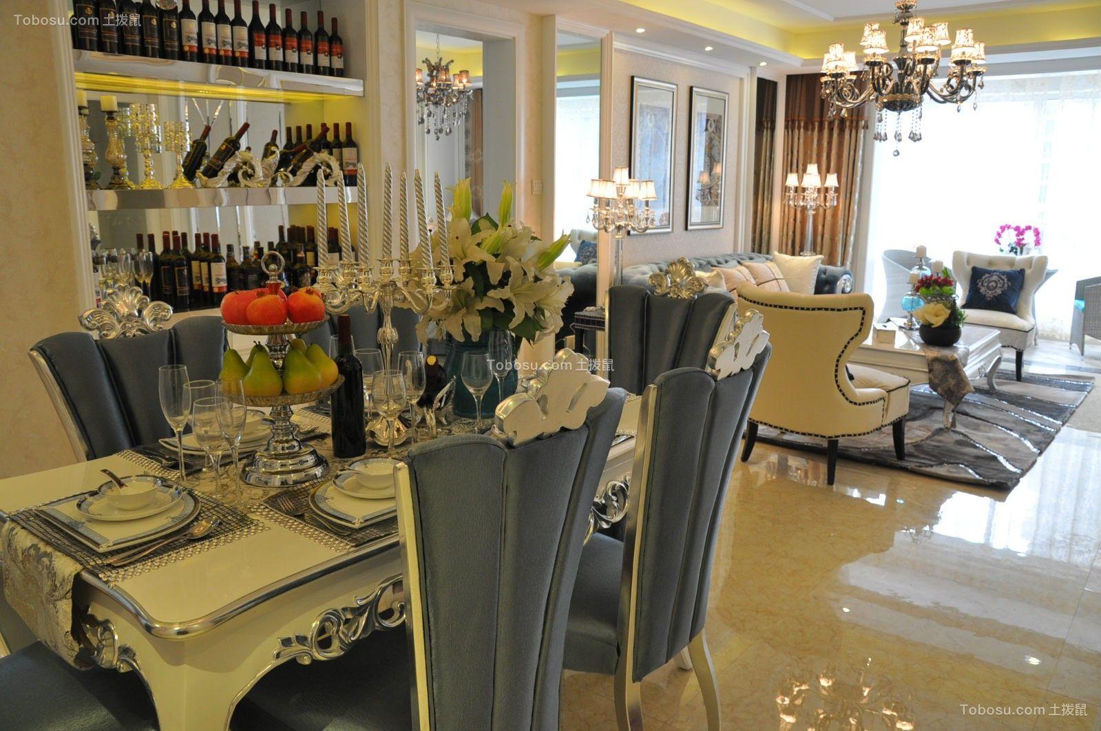 餐厅白色餐桌新古典风格装饰设计图片
