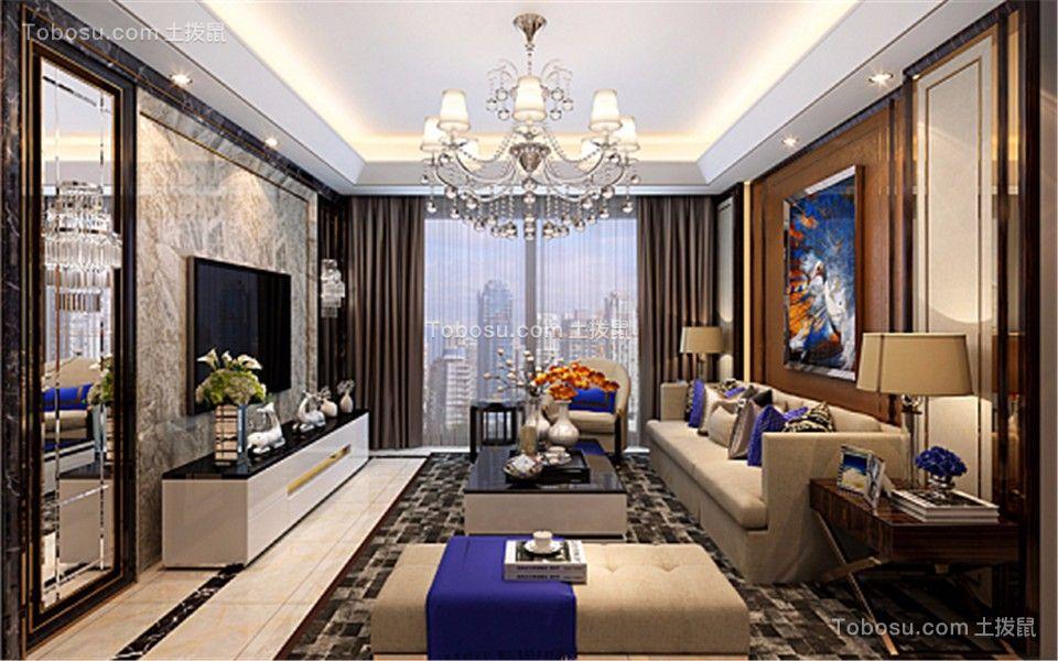 客厅米色沙发后现代风格装修效果图