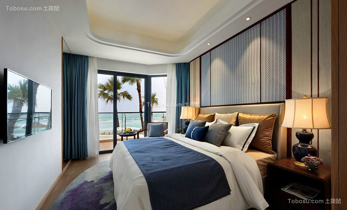 新中式卧室窗帘装潢设计图片