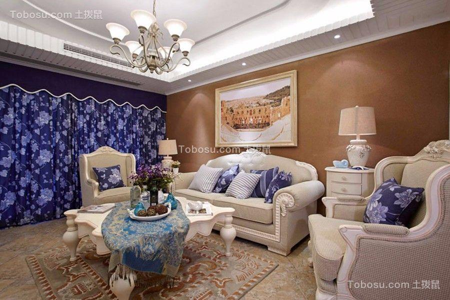 客厅白色沙发欧式田园风格效果图