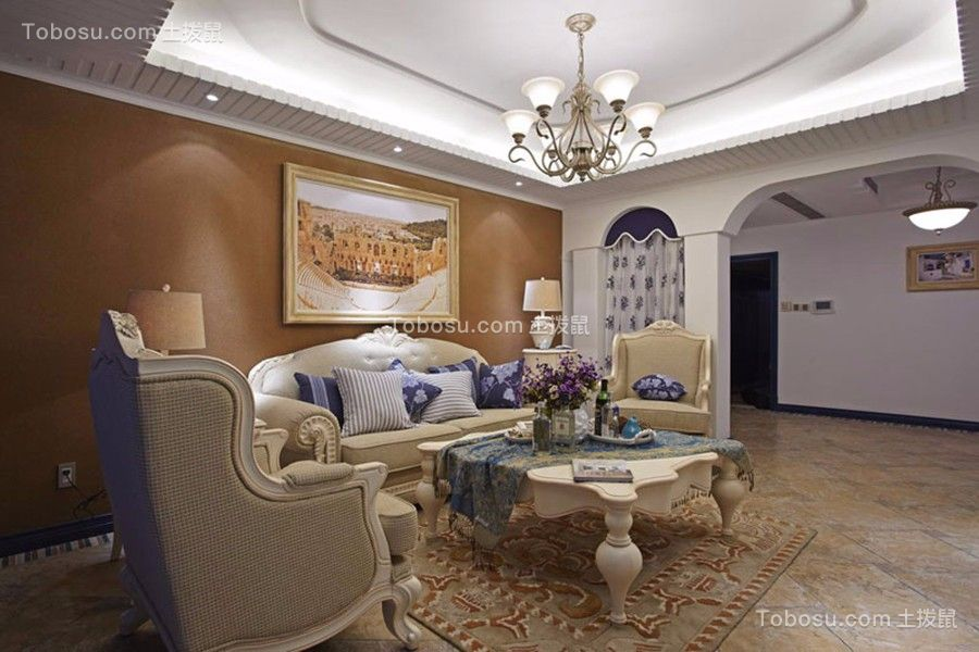 客厅粉色背景墙欧式田园风格装饰效果图