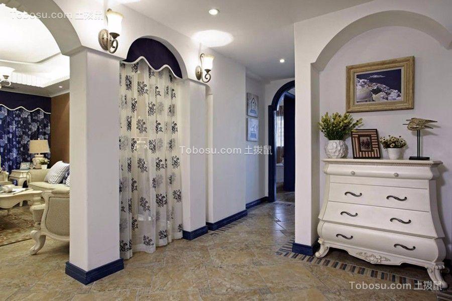 客厅黄色地砖欧式田园风格装潢效果图