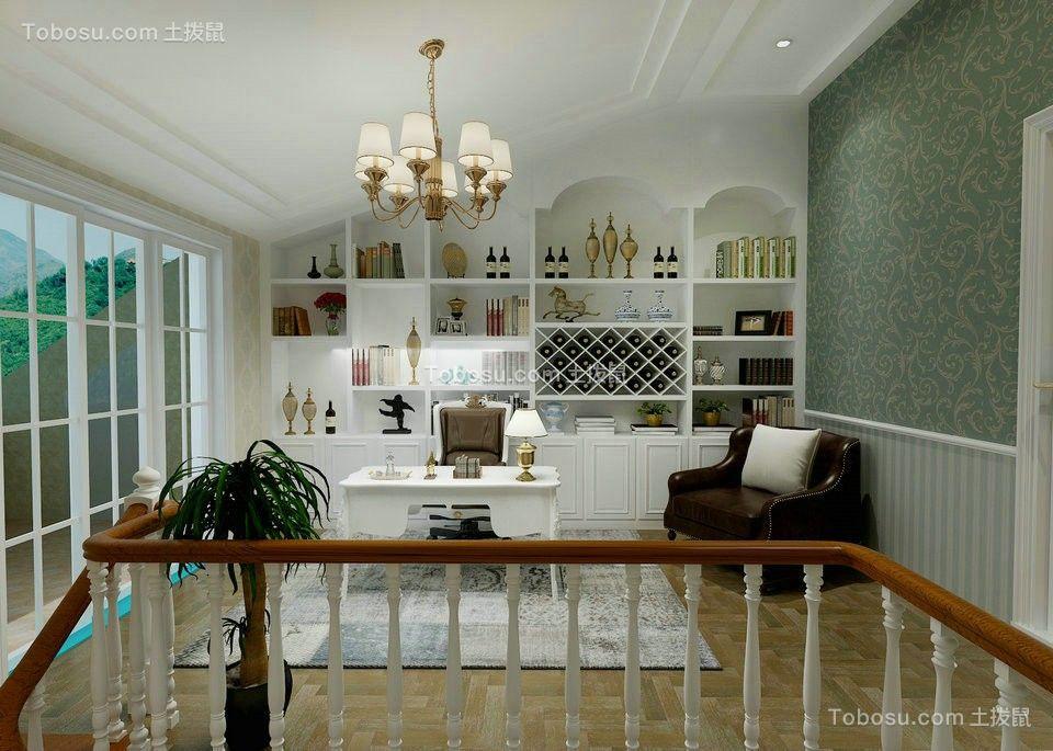 书房白色书桌欧式风格装潢效果图