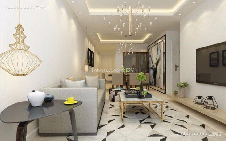 98平现代简约风格两居室装修效果图