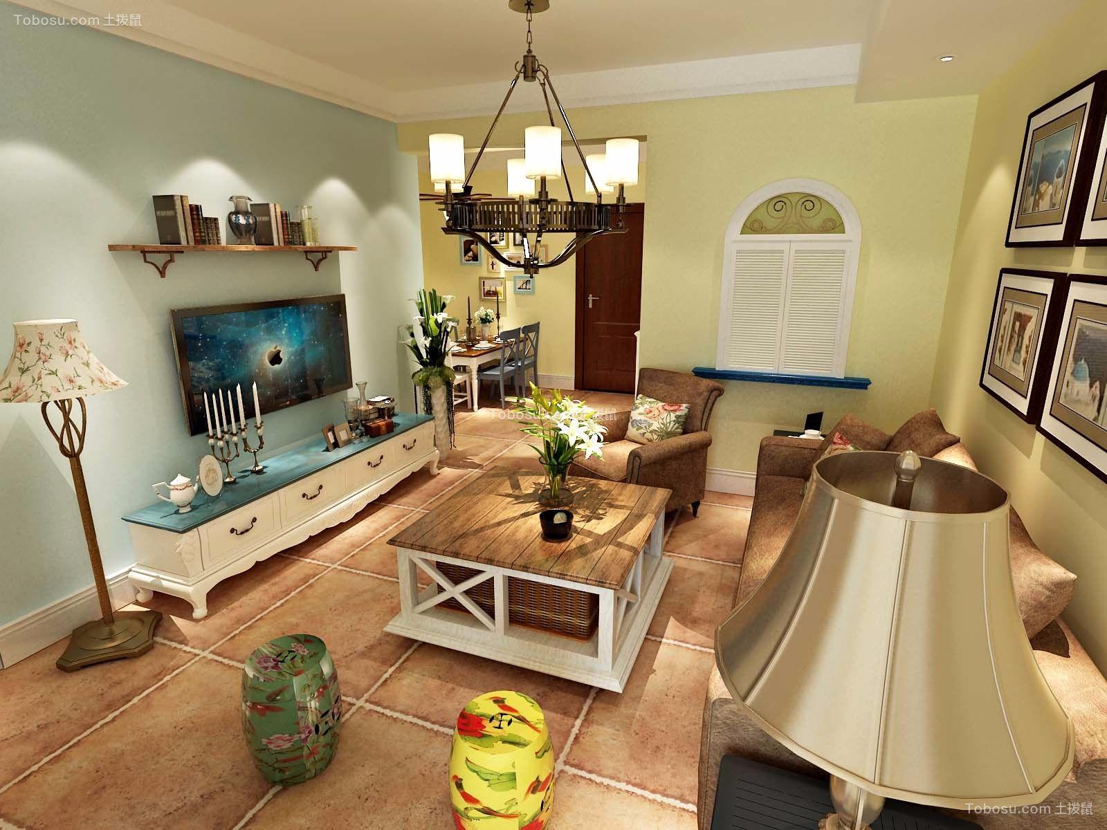 89平米田园风格两居室装修效果图