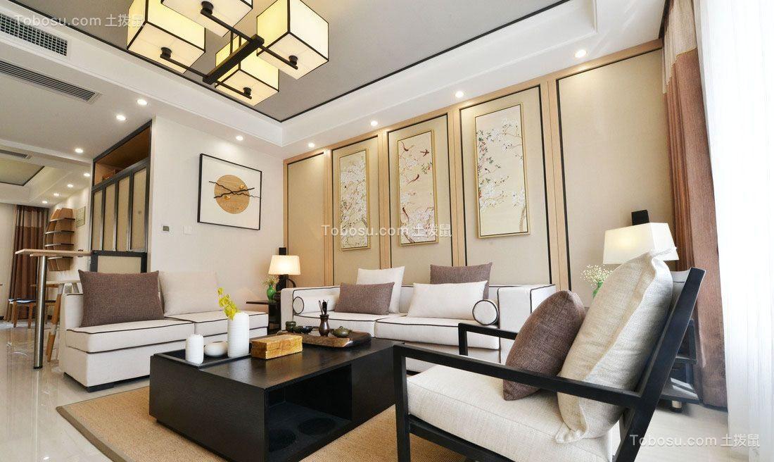 70平中式风格三居室装修效果图