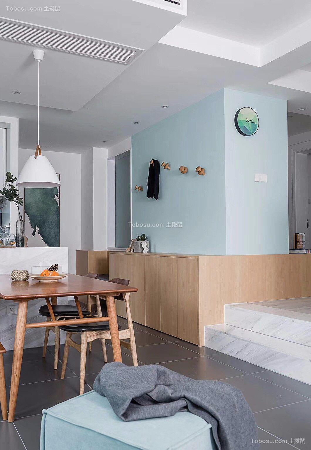 餐厅灰色地砖北欧风格装潢效果图
