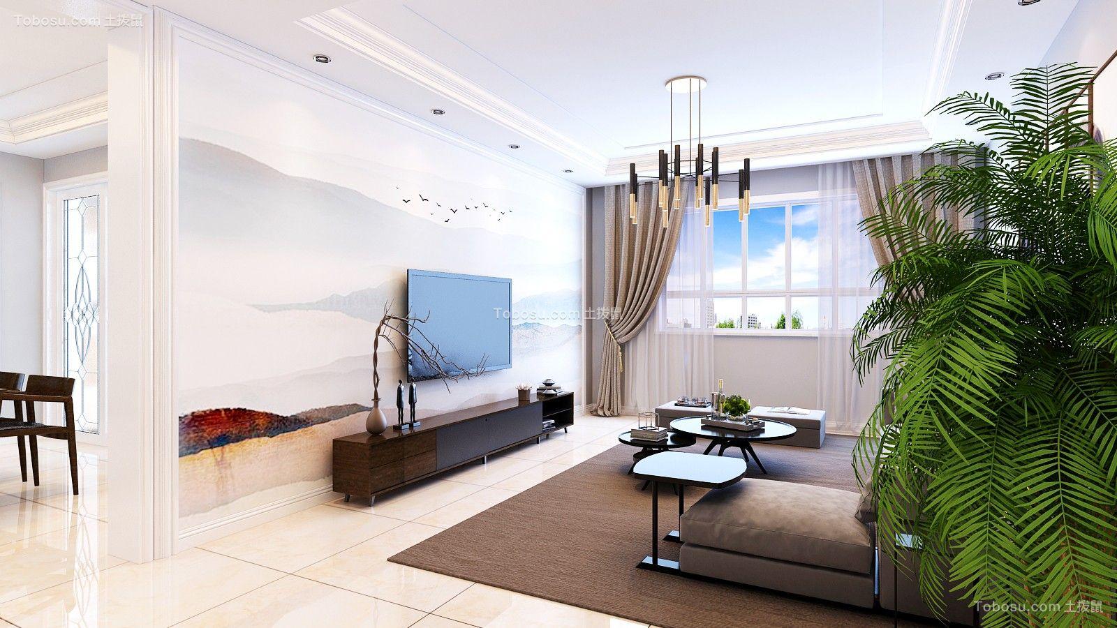 客厅灰色窗帘简约风格装潢设计图片