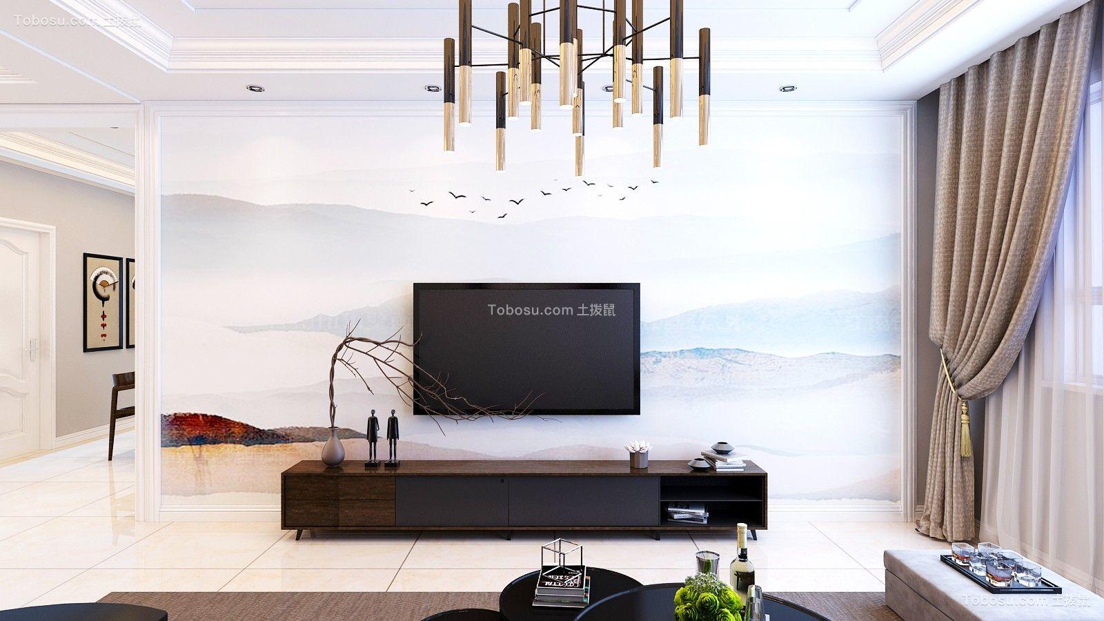 客厅咖啡色电视柜简约风格装饰效果图
