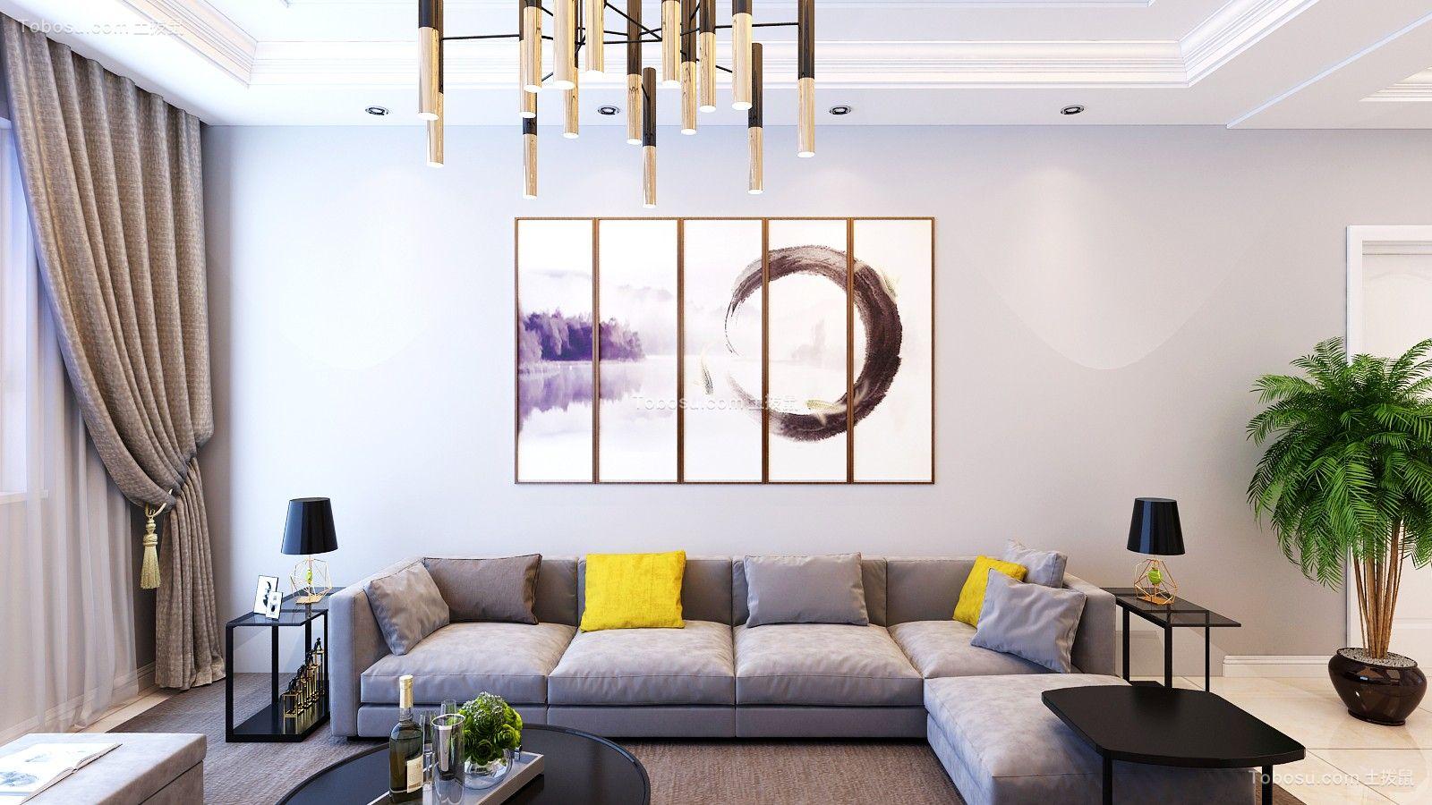 客厅灰色背景墙简约风格装潢效果图