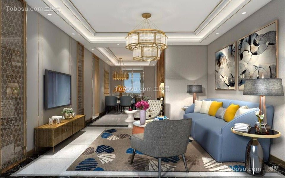 128平现代简约风格三居室装修效果图