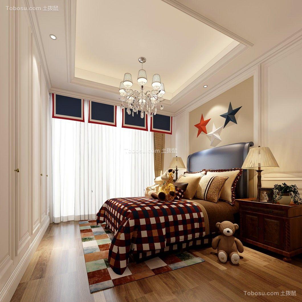 儿童房米色床简欧风格装修设计图片