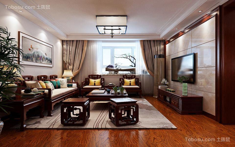130平中式风格三居室装修效果图