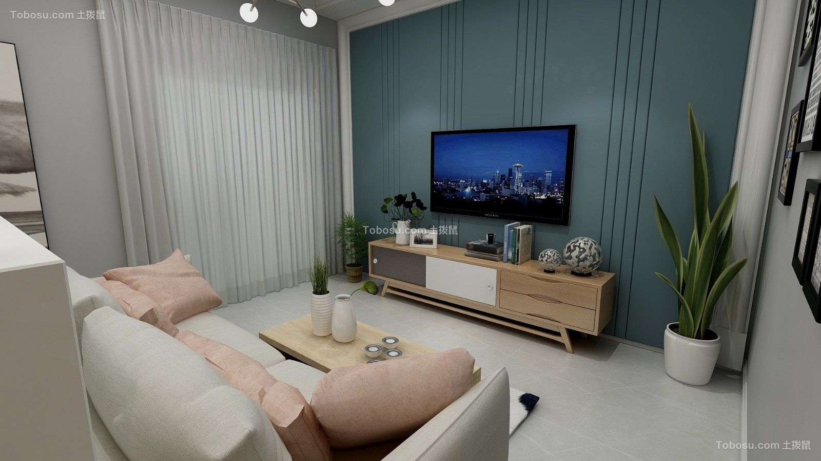 78平简约风格两居室装修效果图