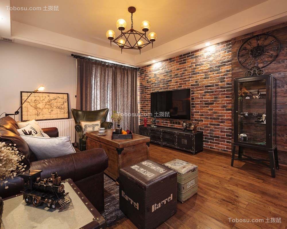 126平后现代风格三居室装修效果图