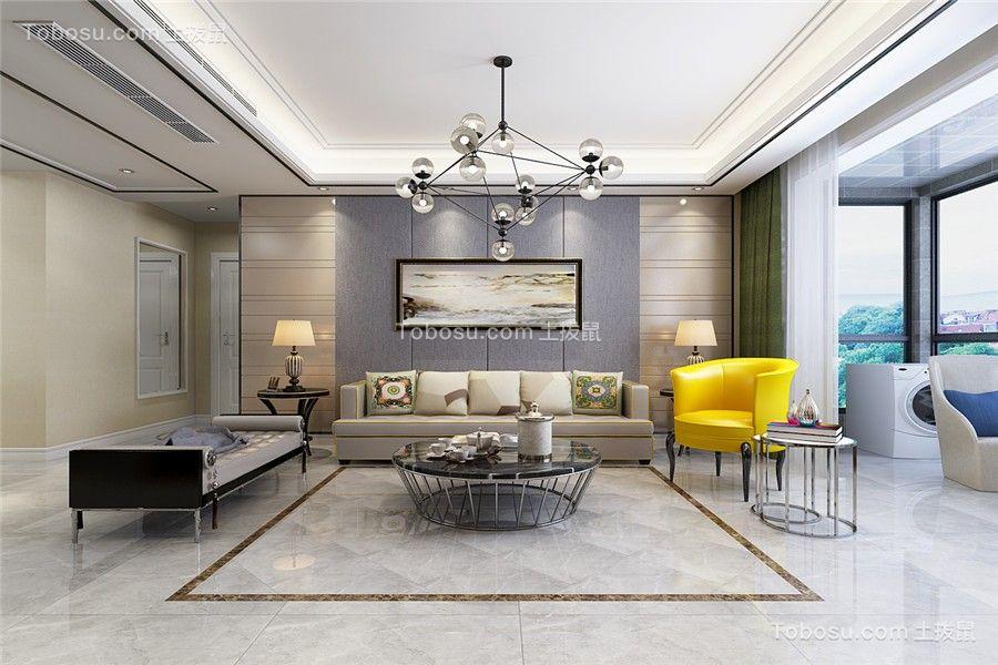 120平米现代简约风格三室两厅装修效果图