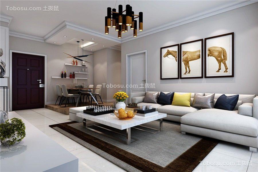 100平米现代简约风格三室两厅装修效果图