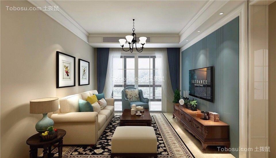 102平米美式风格三居室装修效果图