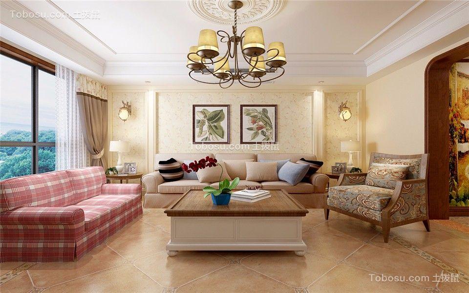 120平米美式风格三居室装修效果图
